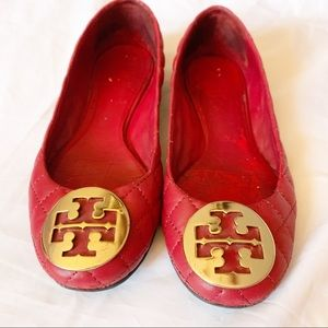 TORY BURCH RED LEATHER QUINN BALLET FLAT